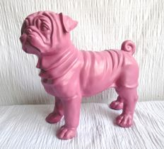 Modern sculpture - Chinese pug colour pink - polyester