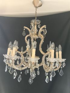 Large crystal MarieTherese chandelier with 10 light points -ca. 1950