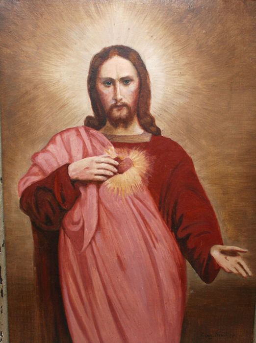 Magnificent Antique Oil Painting August Muller Jesus Christ With