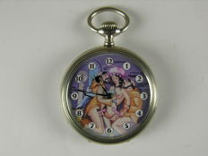 Junghans pocket watch with erotic dial, silver 800 - 1st half of the 20th  century