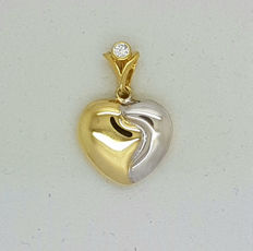 14 kt White and yellow gold pendant in the shape of a Heart  -No reserve price-