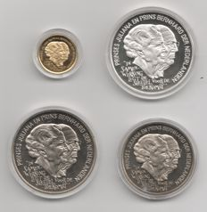 "Netherlands – Coin/medal set ""Ecu of the Netherlands"" (4 pieces) – Including silver and gold"