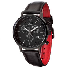 DETOMASO Milano Mens Watch Black  Chronograph Stainless Steel Dial Black Leather Strap New