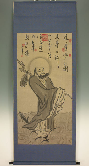 Handpainted hanging scroll  - Bodhidharma - Japan - late 20th/21st century