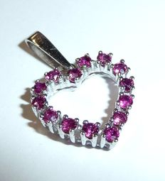Ruby heart – 585 / 14 kt white gold – very finely coloured clear rubies