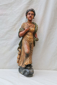 Polychrome wooden sculpture - Gypsy woman - Germany - 20th century