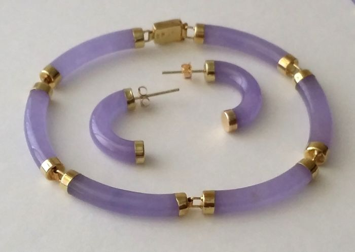 14kt Gold Lavender Purple Jade Bracelet Earrings Jewelry Set