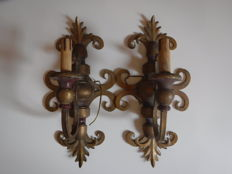 2 sconces in bronze and wood - Italy - early 20th century