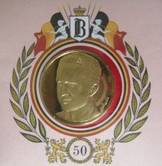 "Belgium, commemorative coin, ""50th birthday of King Baudouin I"", first day of emission, 24 kt gold on sterling silver"