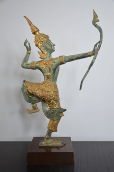 Gold plated bronze Rama archer – Thailand – Second half of the 20th century