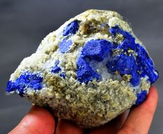 Electric Blue Lazurite Crystals with Pyrite on Calcite Specimen - 435gm - 100 x 80 x 55 mm