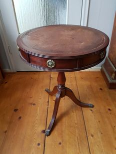 Side table with leather table top and 2 drawers