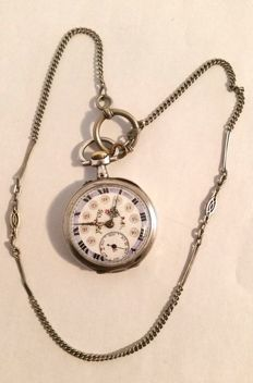 Alpine cyclinder pocket watch, approx. 1880-1900 with chain