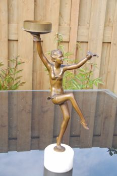 Beautiful art nouveau style candelstick, young ballerina holding a plate