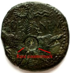 Roman Empire - Dupondius of  Augustus & Agrippa -  IMP DIVI F - Col Nemo - Crocodile chained to a palm tree  - France - Gaul - 10 AD