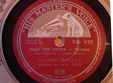 78 rpm  records Frenche Chansons and Musette Music with  Gilbert Becaud / Patachou / Yves Montand /Rina Ketty / Mauriche  Chevalier  and many others.