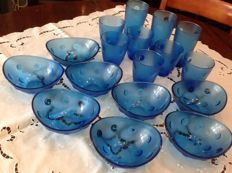 Large lot in blue - glasses - macedonia/ice cream bowls
