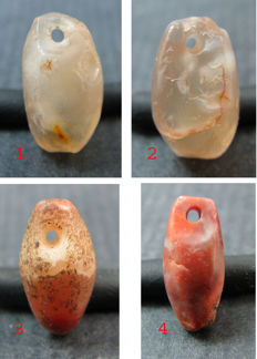 4 Neolithic Sahara agate pendants  - 15mm, 14mm and 13mm.