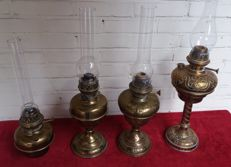 4 copper kerosene lamps, early 1900 to 1940
