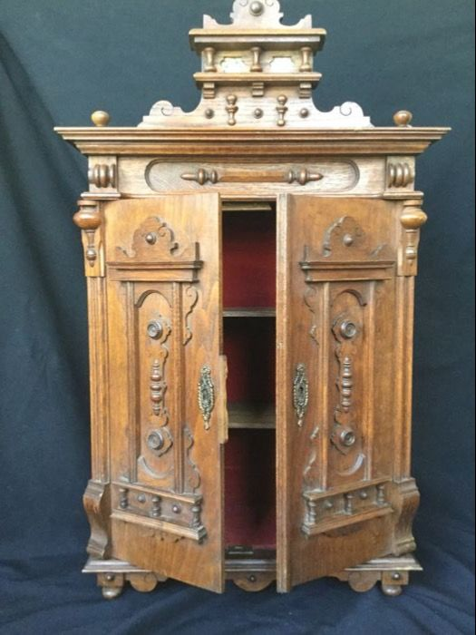 Antique Hanging Cabinet (can Also Be Loose) Oak Wood