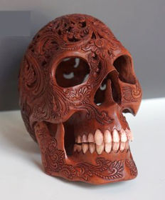 Hand carved Human skull, Balinese Flower pattern, teeth made from bone,