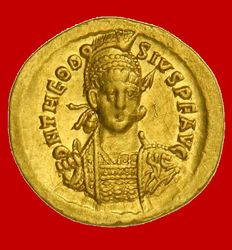 Roman Empire - Theodosius II  (402 - 450 A.D). gold solidus (4,39 g. 21 mm.) minted in Constantinople between 430-439 A.D. VOT XXX MVLT XXXX. CONOB.