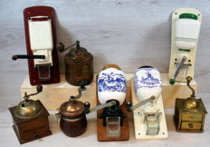 Collection of eight old coffee grinders - various models