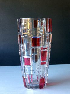 Val Saint Lambert - Crystal vase, signed, Belgium, the 60s.