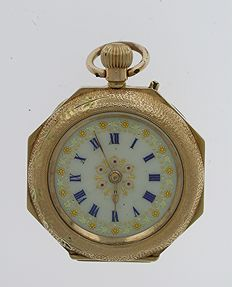 14 Kt Yellow Gold Open Face FOB  Pocket Watch Swiss 1890