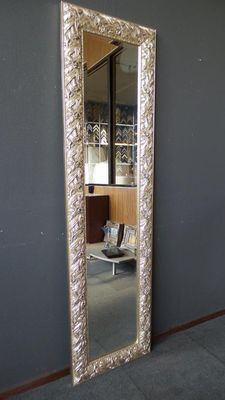 Extremely large full length mirror with facet cut glass - Art Nouveau style - beautifully decorated frame