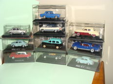 Ixo-Hachette - Scale 1/43 - Lot of 10 cars: 6 x Renault, 1 x Citroen DS23, 1 x Panhard Dyna and 2 x Facel Vega