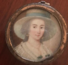 A miniature portrait of a lady, France, 19th century