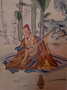 A decorative scroll painting - China - late 20th century