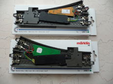 Märklin H0 - 24611/-12/74490/-60  -  2 Straight C-track points with 2 x decoders and 2 x points drives