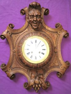 Wall Clock - Carving of Satyr-Demon and Grapes - Japy Freres Paris Movement - Signed 'Dussault' - 1855 Grand Medal of Honour