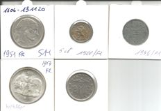 Belgium - Lot of 5 different cons - silver, nickel and zinc