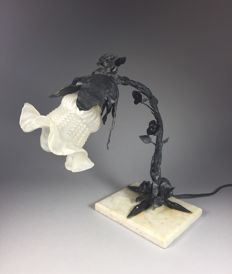 Painted wrought iron table lamp