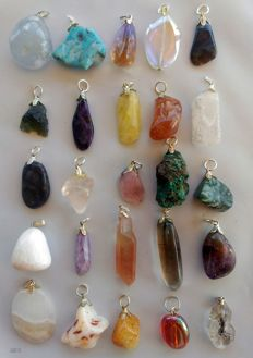 Large Lot of Semi-precious Stone and Mineral pendants - 5 to 20mm  (25)