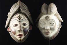 Two Okuyi Masks lot - PUNU - Gabon