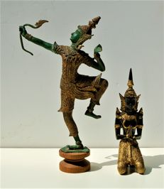 Bronze, gold plated archer and temple guard – Thailand – second half of the 20th century