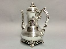 Antique silver plated coffeepot on three claw feet, exceptional decoration, England, ca 1890 **
