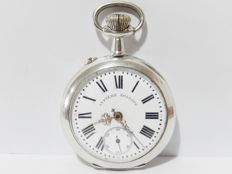 Antique Roskopf pocket watch - 900 silver with engraved casing - Early 20th century