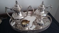 oneida silversmith,1899,silver plated teaset,made in usa &galerie tray.