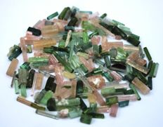 Shiny Paraiba Green, Pink and Orange Tourmaline Crystals lot - 50 gm