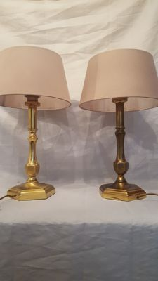 pair of two brass table lamps, England, second half 20th century