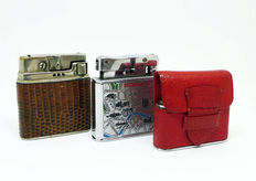 Collection of petrol lighters, automatic mechanism in chromed metal - First half of the 20th century