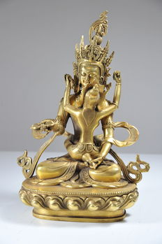 Vajrasattva Yab-yum- Brass - Tibet - Second half of 20th century