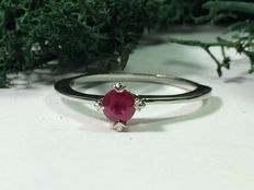 Solitaire ruby women's ring in 800 white gold, ring perimeter:  16.8mm