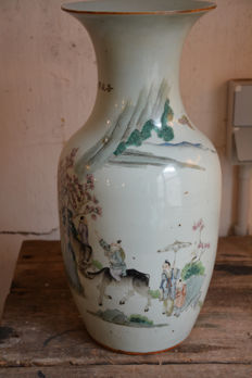 Famille verte vase with a décor of a landscape and children – China – early 20th century