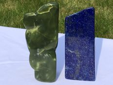 A set of two Mineral freeforms - Lapis Lazuli and Nephrite  - 12 to 12.5cm - 1822grams